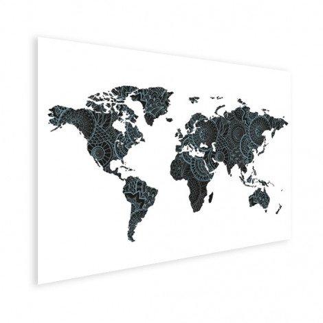 Aziatische print zwart-blauw poster