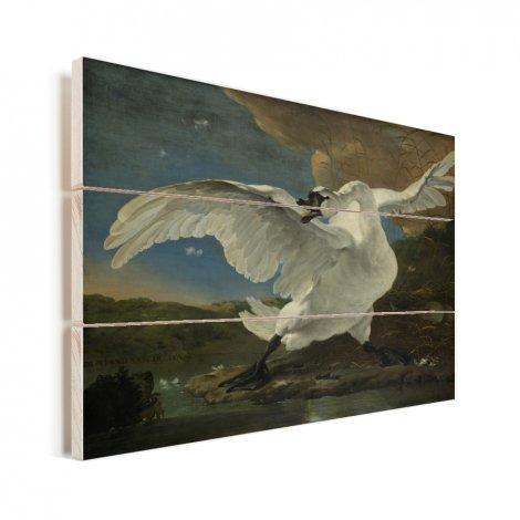 De bedreigde zwaan - Schilderij van Jan Asselijn Vurenhout met planken