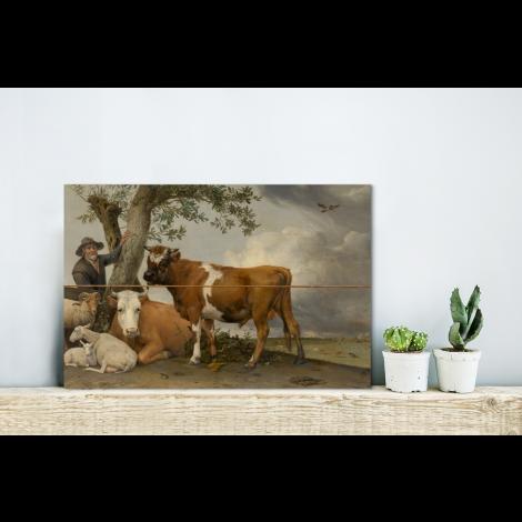 De stier - Schilderij van Paulus Potter Vurenhout met planken