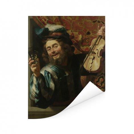 Een vrolijke vioolspeler - Schilderij van Gerard van Honthorst Poster