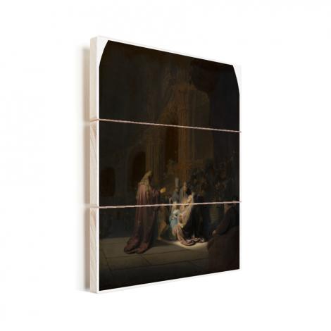 Het loflied van Simeon - Schilderij van Rembrandt van Rijn Vurenhout met planken