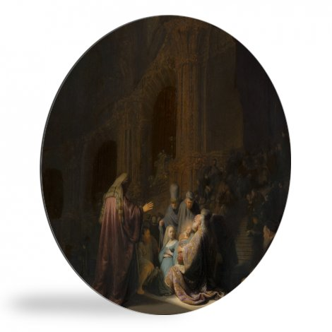 Het loflied van Simeon - Schilderij van Rembrandt van Rijn wandcirkel