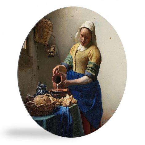 Het melkmeisje - Schilderij van Johannes Vermeer wandcirkel