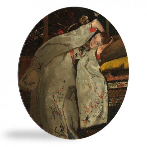 Meisje in witte kimono - Schilderij van George Hendrik Breitner wandcirkel