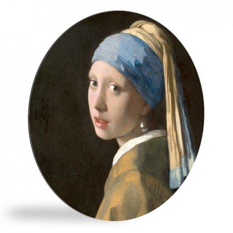 Meisje met de Parel - Schilderij van Johannes Vermeer wandcirkel