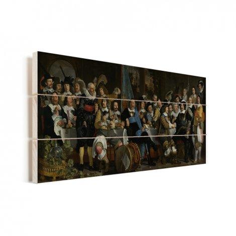 Schuttersmaaltijd ter viering van de Vrede van Munster - Schilderij van Bartholomeus van der Helst Vurenhout met planken