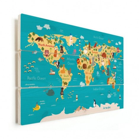 Continenten en zeeën hout