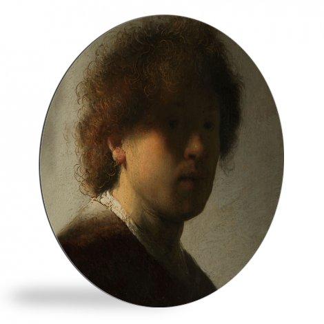 Zelfportret - Schilderij van Rembrandt van Rijn wandcirkel
