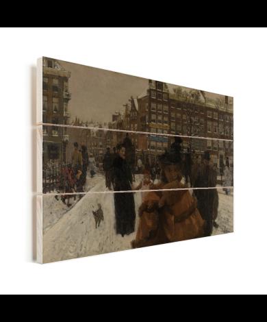 De Singelbrug bij de Paleisstraat in Amsterdam - Schilderij van George Hendrik Breitner Vurenhout met planken
