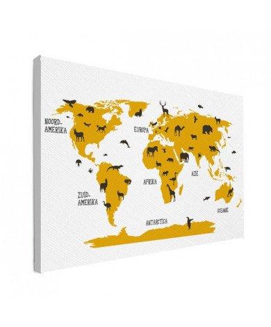 Dieren geel canvas