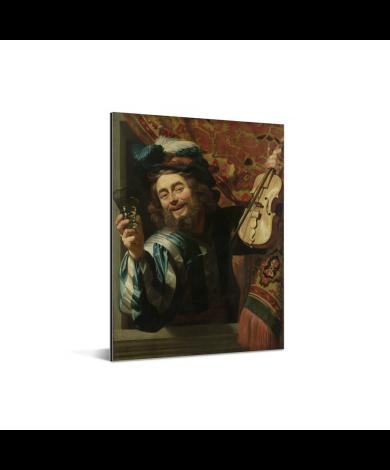 Een vrolijke vioolspeler - Schilderij van Gerard van Honthorst Aluminium