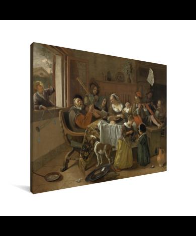 Het vrolijke huisgezin - Schilderij van Jan Steen Canvas