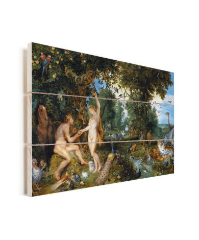 Het aardse paradijs met de zondeval van Adam en Eva - Schilderij van Peter Paul Rubens Vurenhout met planken