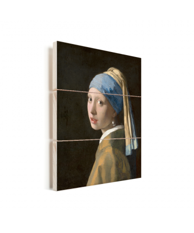 Meisje met de Parel - Schilderij van Johannes Vermeer Vurenhout met planken