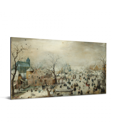 Winterlandschap met ijsvermaak - Schilderij van Hendrik Avercamp Aluminium