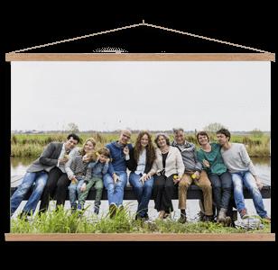 Textielposter met familiefoto in kleur