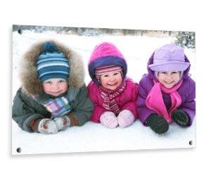Foto Op Glas Winterkorting Kinderen