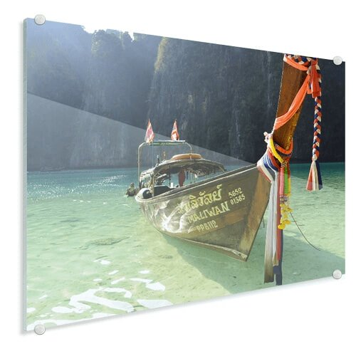 Foto op glas boot op strand